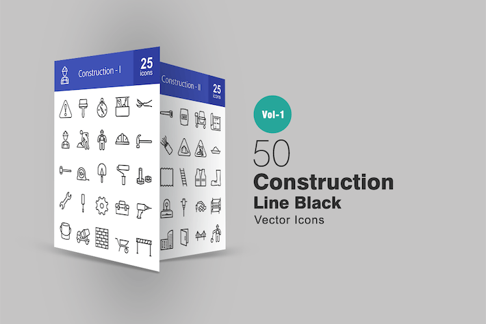 Thumbnail for 50 Construction Line Icons
