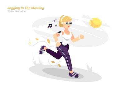 Jogging In The Morning - Vector Illustration
