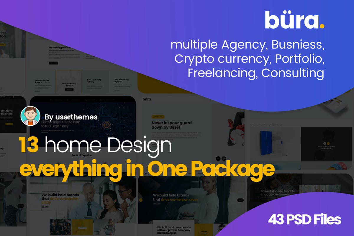 Download Bura - Multiple Agency Consulting PSD Template by UserThemes by Unknow