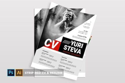 Strip Red   CV & Resume