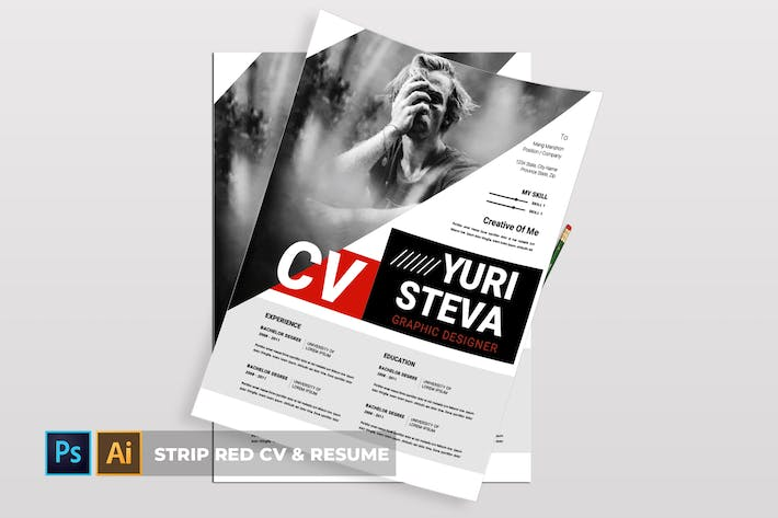 Cover Image For Strip Red   CV & Resume