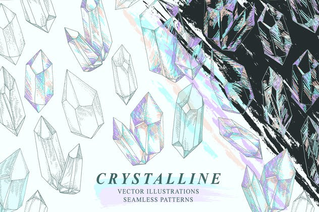 Crystalline Gem Mineral Crystal Drawings Patterns