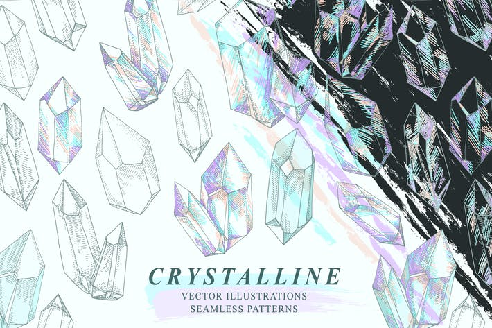 Thumbnail for Crystalline Gem Mineral Crystal Drawings Patterns