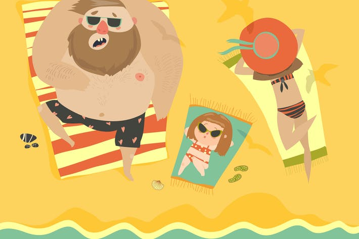 Thumbnail for Happy family at the seaside. Vector illustration
