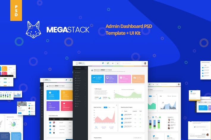 Thumbnail for Megastack Admin Dashboard Template + UX & UI Kit