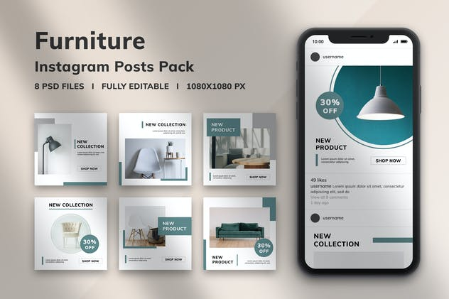 Furniture Instagram Posts Pack