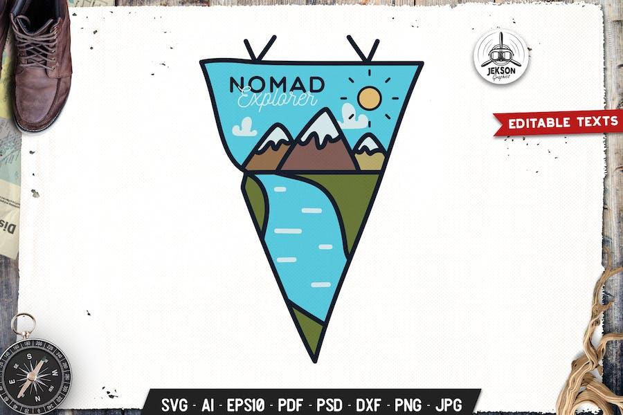 Nomad Explorer Pennant. Modern Logo Travel Badge