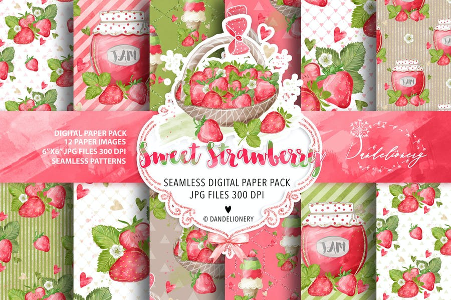 Sweet Strawberry digital paper pack