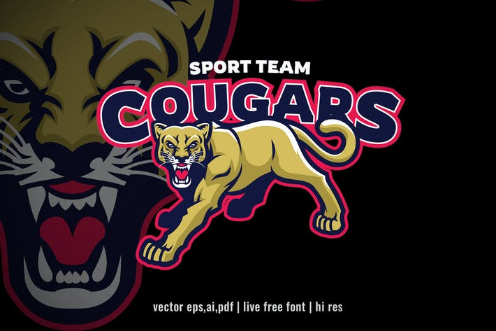 Angry Cougar lion sport logo