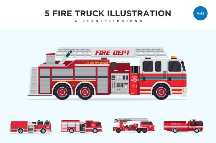 Thumbnail for 5 Firefighter Truck Vector Illustration Set 1