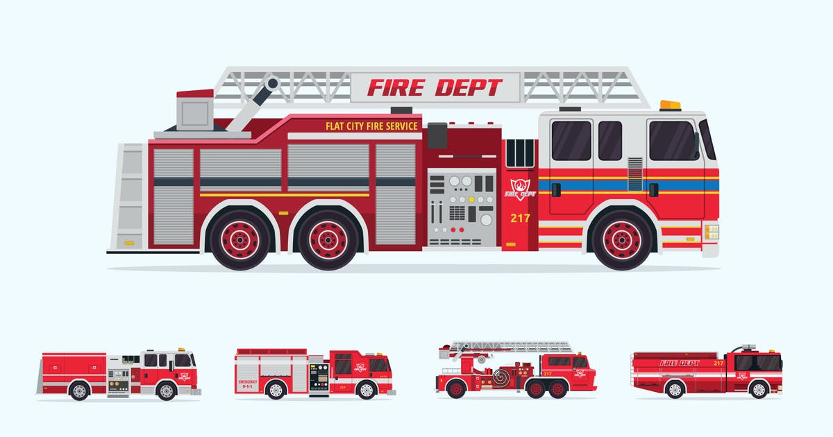 Download 5 Firefighter Truck Vector Illustration Set 1 by naulicrea