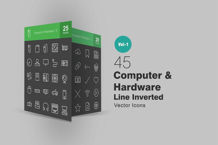 Thumbnail for 45 Computer Line Inverted Icons