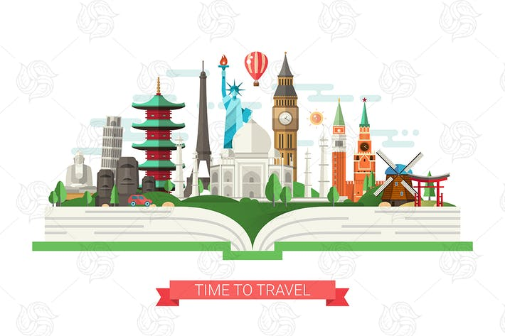 Thumbnail for Travel Banner with World Famous Landmarks on Book