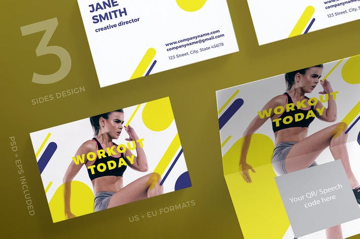 Thumbnail for Gym Workout Business Card Template