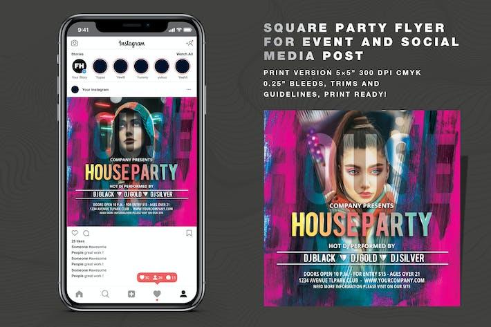 Thumbnail for Dépliant House Party et Post sur les médias sociaux