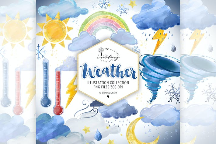 Thumbnail for Watercolor Weather Clipart