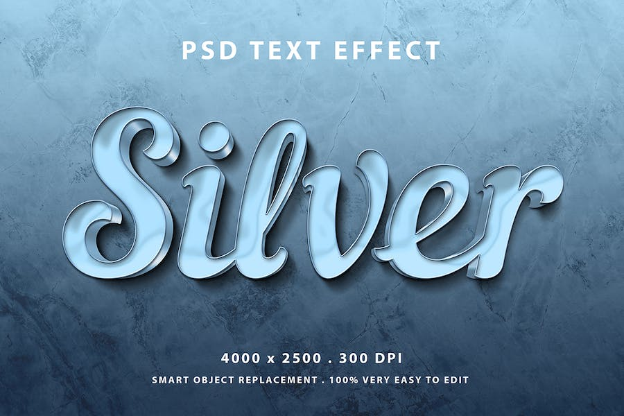 Silver glossy text effect
