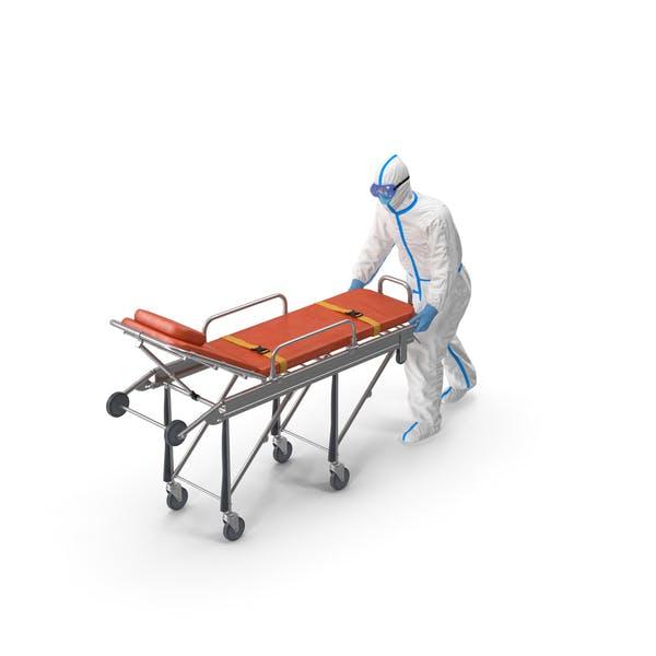 Schutzanzug mit Edelstahl Krankenwagen Krankenhausbett Gurney