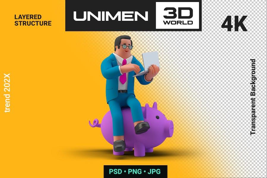 Businessman Sitting on Piggy Bank 3D Illustration