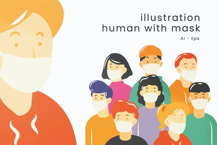 Illustration Human With Mask Package
