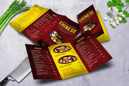 Chinese A4 & US Letter Trifold Food Menu