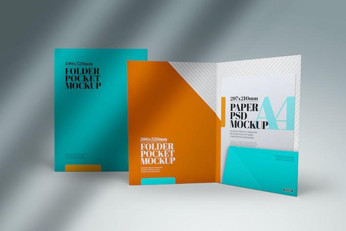 Folder Pocket Mockup Front View
