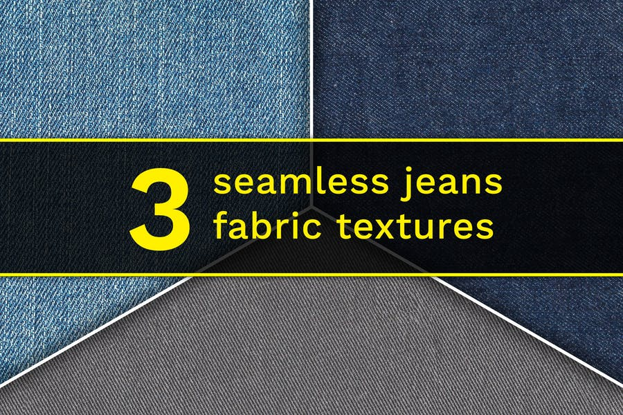 Set of 3 different seamless denim fabric textures.