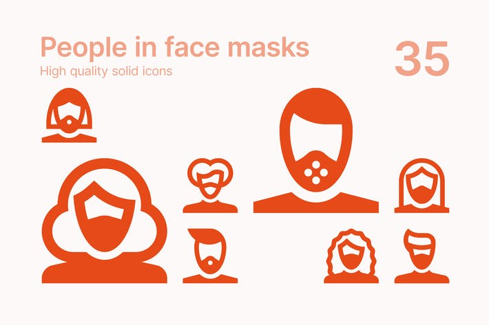 People in Face Masks Icons