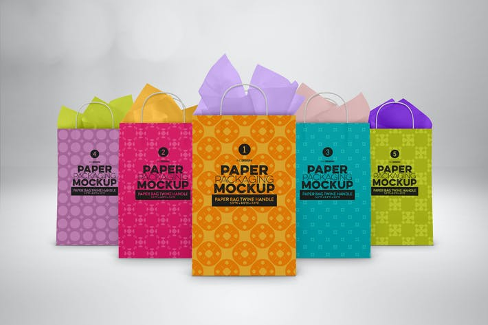 Cover Image For Paper Bags Twine Handles Packaging Mockup