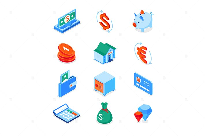 Thumbnail for Business and finance - modern isometric icons set