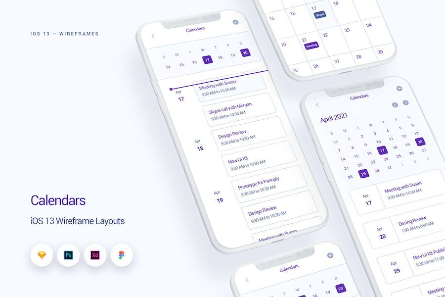 Calendars - iOS 13 Wireframe Kit