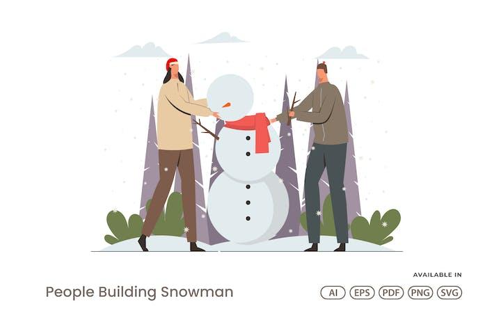 Thumbnail for Люди строит снеговика