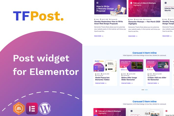 Elementor Post grid, List , Carousel Slider