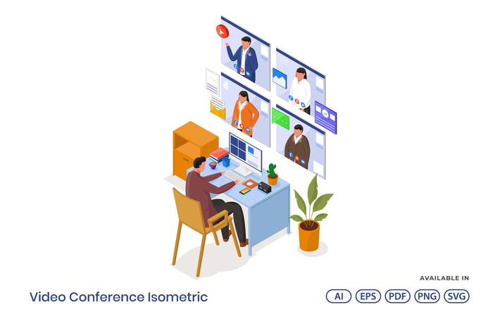 Video Conference Isometric