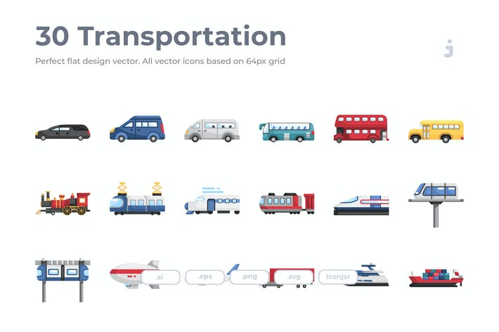 Thumbnail for 30 Transportation Icons - Flat