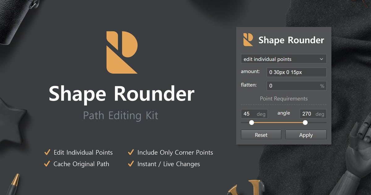 Download Shape Rounder - Path Editing Kit by h3-design