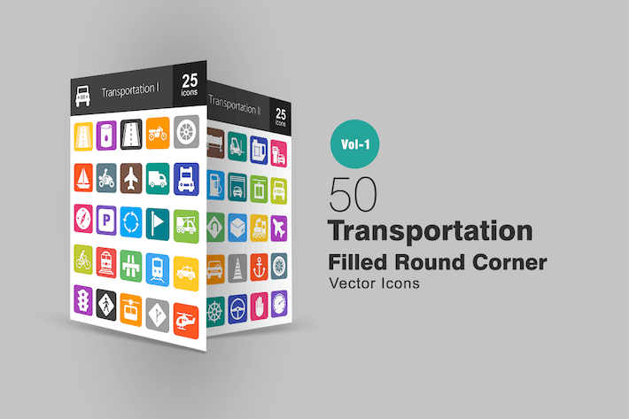 Thumbnail for 50 Transportation Filled Round Corner Icons