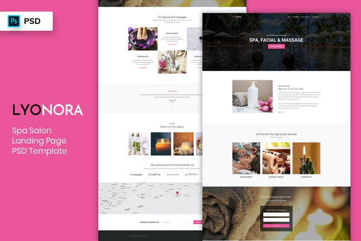Cover Image For Spa & Salon - Landing Page PSD Template