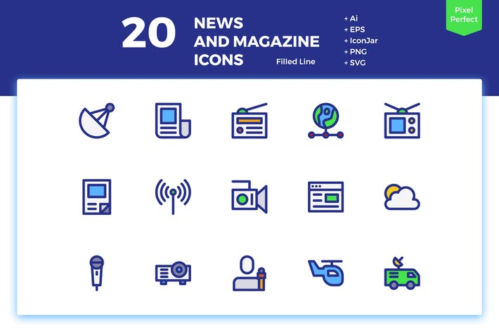 Thumbnail for 20 News and Magazine Icons (Filled Line)