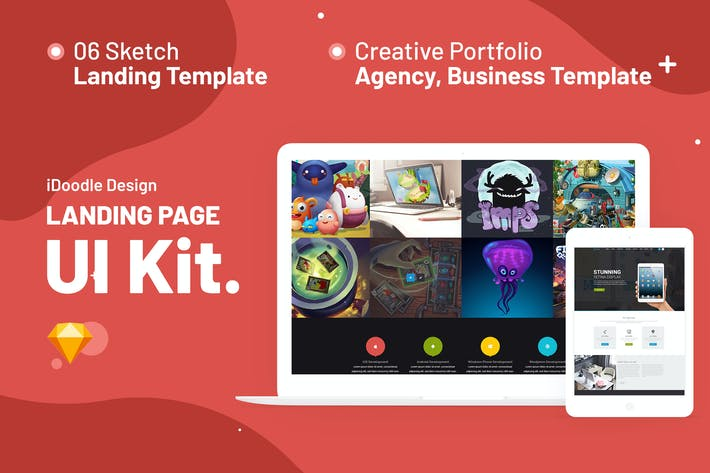 Thumbnail for iNine UI Kits Landing Pages Sketch Template