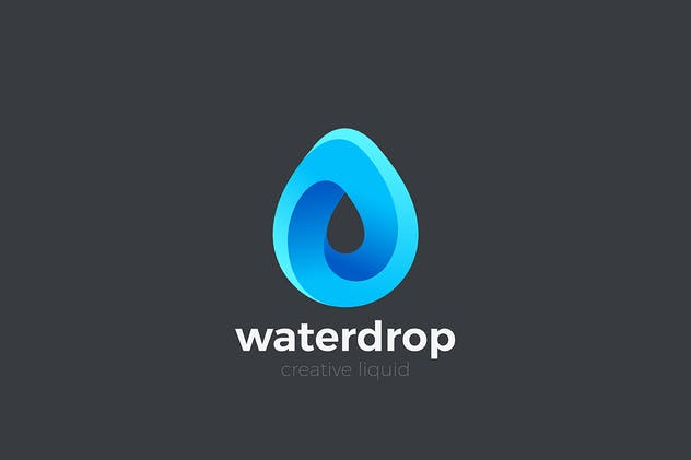 Water Droplet Logo Drop Infinity Looped shape