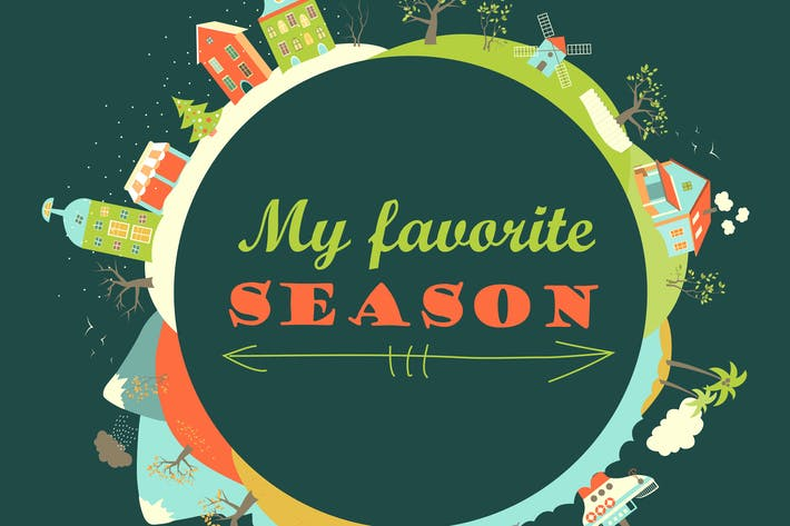 Thumbnail for Four seasons in flat style. Vector illustration