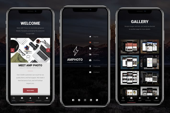 Thumbnail for AMP Photo Mobile | Google AMP Mobile News Template