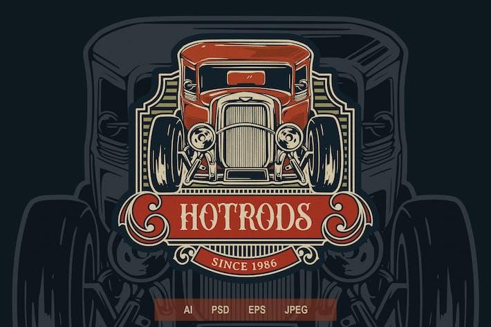 Thumbnail for Vintage Badge Logo - Automotive Hot Rod V1