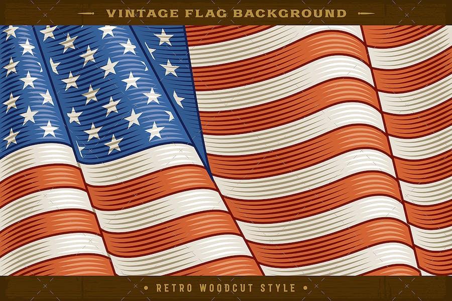 Vintage Flag Of USA. Close-up Background