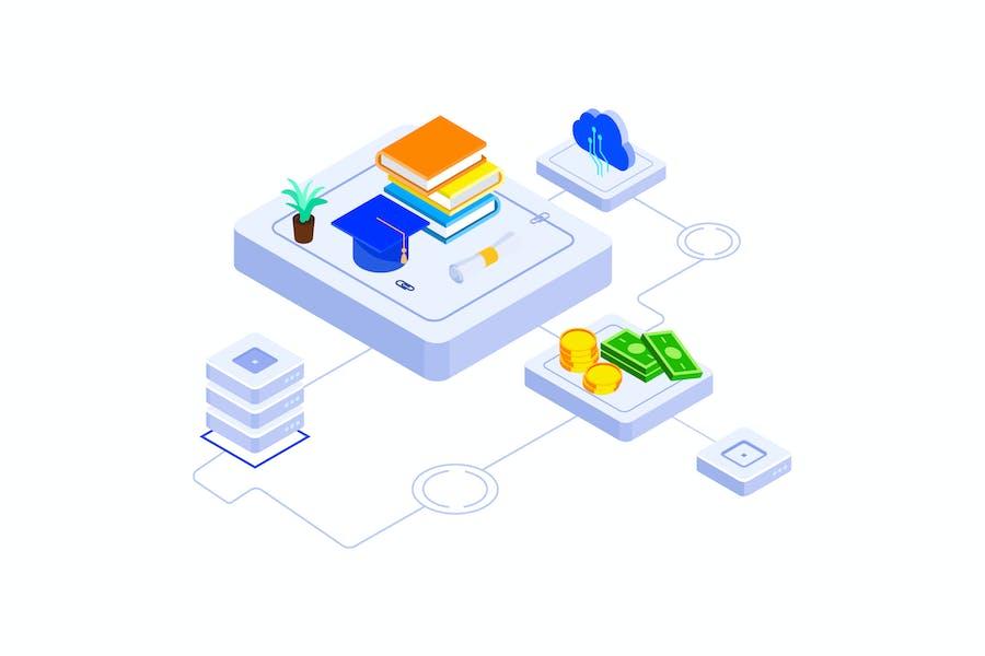 Education Fund Blockchain Platform Isometric - FV