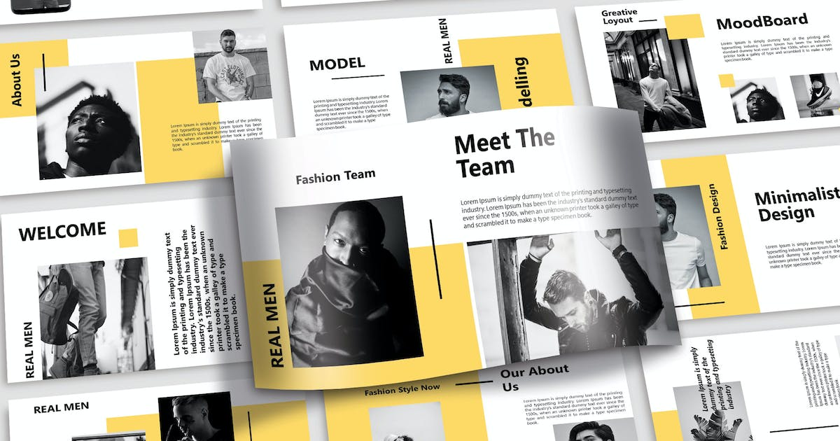 Download REAL MEN - Fashion Powerpoint Template by joelmaker