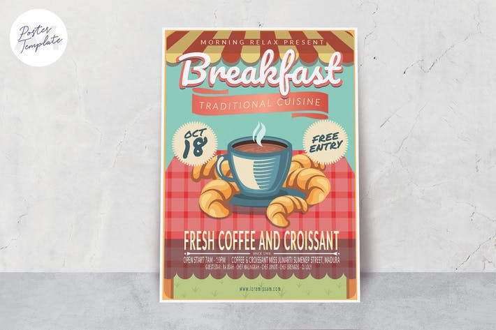 Traditional Coffee Illustration Poster Template