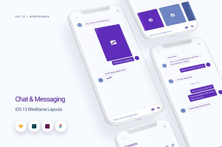 Thumbnail for Chat & Messaging - iOS 13 Wireframe Kit