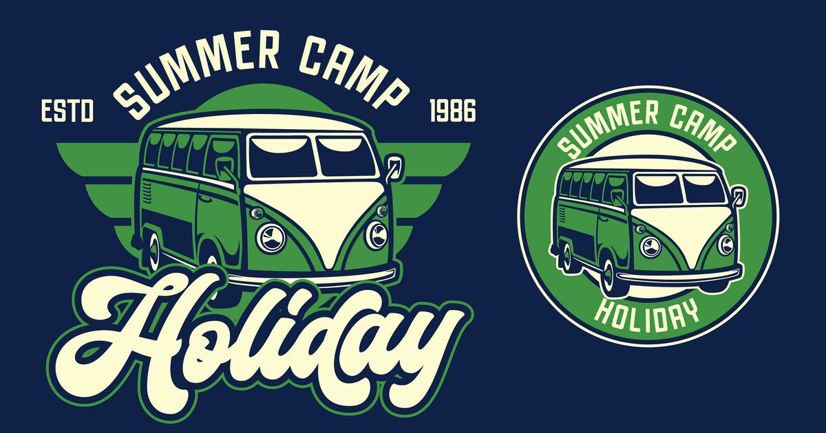 Download Van Holiday Retro Logo Template by Blankids